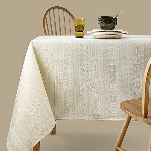 Viste tu hogar Mantel con Hilo Dorado, 140 x 140 CM, Especial para Decoración de Hogar con Diseño de Rayas, Ideal para Cenas Familiares, Cumpleaños etc, Color Beige, Fabricado en España