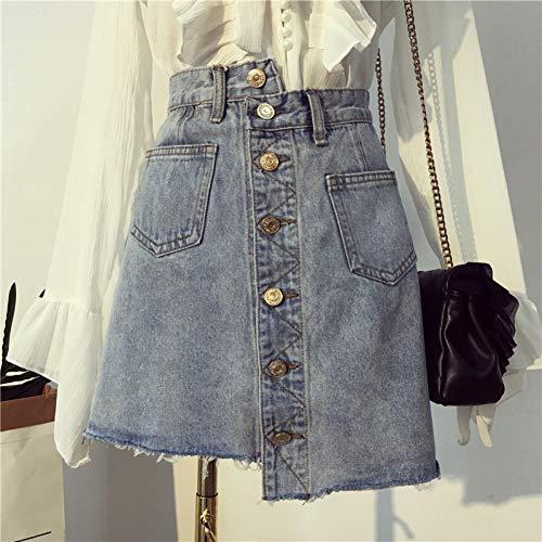 DAIDAICDK Hoge Taille Womens Onregelmatige Jeans Rokken Mode Slanke Vrouwelijke Zakken Knop A-lijn Jeans Saias Faldas Moda