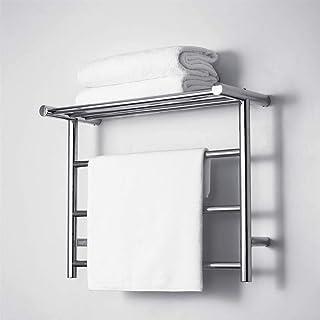 Eléctrico 304 de acero inoxidable toallero, 35W radiador de toallas pequeño hotel, baño estante, secador de toallas, puede soportar 38 kg, 480X610X230mm,Cromo