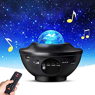 Night Light Projector with Remote Control, Eicaus 2 in 1 Star Projector with LED Nebula Cloud/Moving Ocean Wave Projector for Kid Baby, Built-in Music Speaker, Voice Control, Multifunctional (Black) from Eicaus