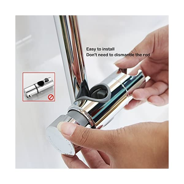 Soporte Ducha Aoleca 18-25mm ABS Almohadilla Ajustable del Cromo del Soporte de la Abrazadera del resbalador de Ducha…
