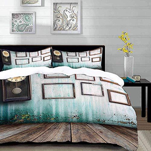 ropa de cama - Juego de funda nórdica, reloj, un reloj vintage y marcos vacíos en un viejo telón de fondo de madera, multicolor, juego de funda nórdica de microfibra con 2 fundas de almohada de 50 x 7