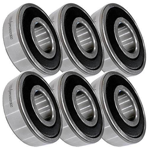 HD Switch (6 Pack) Blade Spindle Bearings Premium Replacement for John Deere JD9296 JD9239 w/ C3 & HIGH Temperature Bearing Grease Upgrade