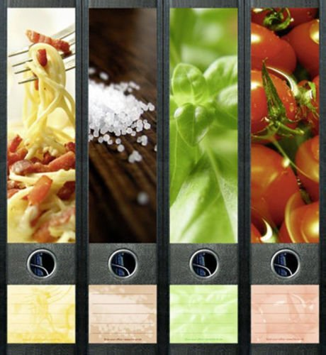 Ordnerrücken breit 4er Set Ordner Obst Nudeln Essen Food Aufkleber Etiketten Deko 422