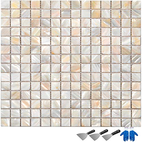 Hopopula 10 STK Shell Mosaik Backsplash 30X30X2 cm Nahtlose Splice Mosaikfliesen Perlmutt Backsplash Fliesen für Pools, Badezimmer, Küche Mosaikfliesen(Perlenmosaik)