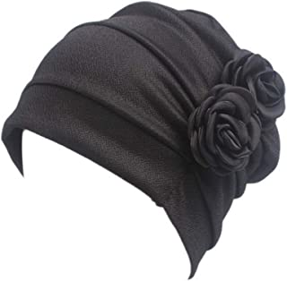 Helisopus Women's Strench Side Flower Pleated Muslim Headband Scarf Beanie Turban Chemo Cancer Cap Hat