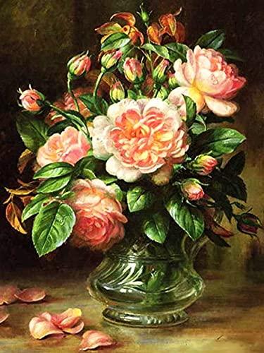 Embroidery peony cross stitch 5D DIY rose flower rhinestone art hand embroidery kit diamond painting A7 40x50cm