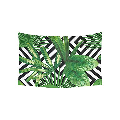 XYSQWZ Tapiz Imprimir Verano Exótica Selva Plantas Tropical Colgante de Pared Flor Psicodélico Indio Dormitorio Decoración Sala de Estar Dormitorio 60x40 Pulgadas