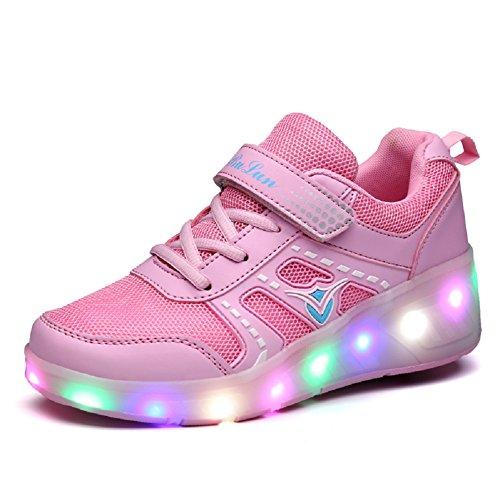 Unisex Kinder Mode LED Schuhe mit Rollen Drucktaste Einstellbare Skateboardschuhe Outdoor Gymnastik Turnschuhe Für Junge Mädchen (30 EU, Rosa 03)