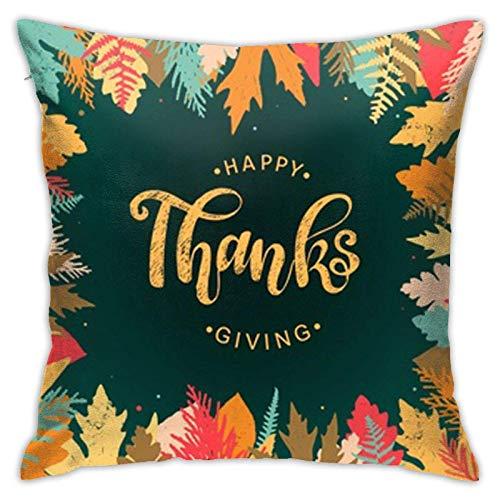 Fundas de almohada de algodón y poliéster con patrón de Acción de Gracias, fundas de almohada para sofá, decoración del hogar, 45,7 x 18 pulgadas