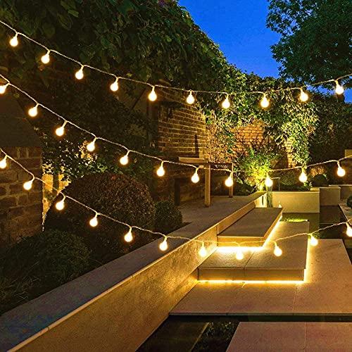 Ibello Guirnaldas Luces Exterior Blanco Cálido 100 LED 12m con Enchufe Guirnalda luminosa para Exterior e Interior Impermeable Festoon Plug-in Decoración para Techo, Festival, Cumpleaños