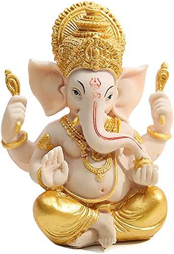 Decoración de estatuilla, Estatua de Lord Ganesha, Figura de Dios elefante de meditación de resina, Adornos de la suerte para la decoración de la mesa del coche de la oficina en casa (Dos estilos)
