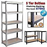 Garage Shed Storage Shelving Units - Heavy Duty Storage Shelves | 180cm x 90cm x 40cm | Metal Racks | 1 Unit, 5 MDF Shelves/Levels, Steel Frame | Boltless Assembly | Silver