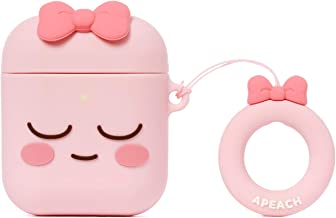 KAKAO FRIENDS Official- Silicone AirPods Case with Finger Ring, Compatible with Apple AirPods Charging Case (Apeach)