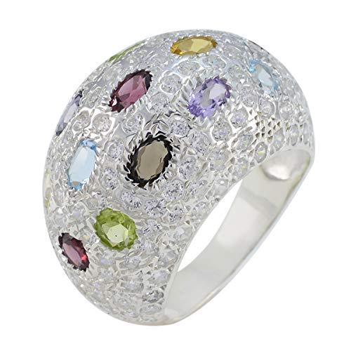 joyas plata piedra preciosa natural forma ovalada multi piedra facetada multi piedra anillos - plata esterlina multi color multi piedra anillo - nacimiento de junio géminis