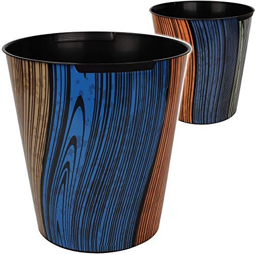 Papierkorb / Behälter - buntes Holz - Holzoptik & Holzbretter - 10 Liter - wasserdicht - aus Kunststoff - Ø 28 cm - großer Mülleimer / Eimer - Abfalleimer - A..