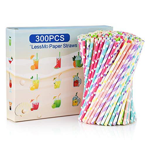 300 PCS Paglie di carta, 300 PCS Cannucce monouso biodegradabili per tutti i giorni, feste, celebrazioni, matrimoni