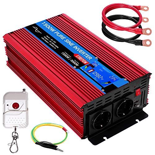 Inversor 12v 220v Onda Pura 1500w /3000w ETREPOW Convertidor de Voltaje con 2 Tomas UE y un USB de 2,1A, Mando a Distancia Inalámbrico, Pantalla Digital y 2 Ventiladores - Auto Transformador