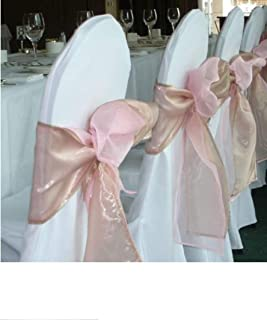 SPRINGROSE 50 White Polyester Standard Round Top Banquet Wedding Chair Covers.