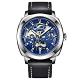 Benyar Automatic Mechanical Skeleton Leather Strap Men's Watch (Blue Color Dial Black Color Strap)