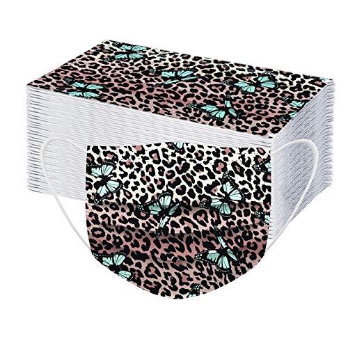 JMNy Erwachsene Mundschutz Multifunktionstuch, Einweg 3-lagig Leopard Schmetterling Gedruckt Maske, Staubdicht Atmungsaktive Vlies Mund-Nasenschutz Bandana Halstuch