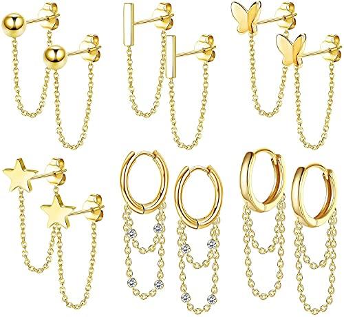 Adramata Juego de 6 pares de pendientes de cadena para mujer, diseño de estrella de bola y mariposa