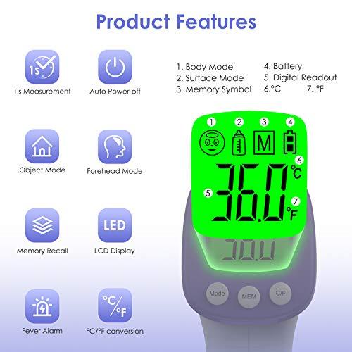 IDOIT Termometro frontale infrarossi 2 in 1 Termometro professionale a distanza 5-8CM Termometro digitale febbre Beeper per Adulti Neonati Bambini