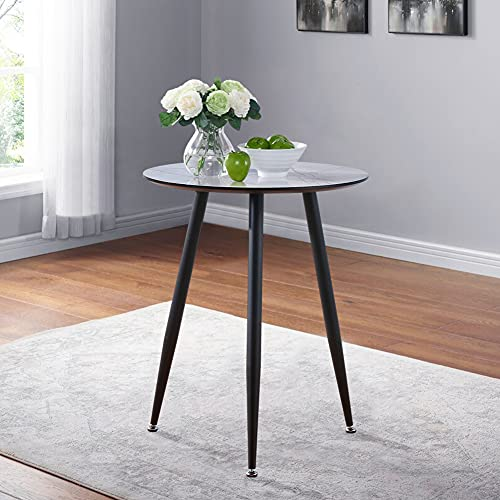 GOLDFAN Small Marble Round Dining Table 60CM Glass Coffee Table Retro Breakfast Table for Home Office Lounge Cafe Balcony,Dark Marble