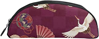 WEEDKEYCAT Japanese Traditional Crane Semicircle Travel Cosmetic Bag Pen Pencil Portable Toiletry Brush Storage,Multi-Function Makeup Carry Case with Zipper