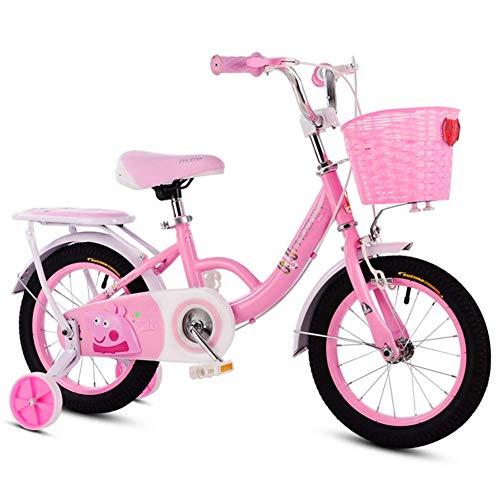 Bicicleta Bicicletas para niños con estabilizadores Bicicletas Plegables Carro de Bicicleta para niños Rosa con Ruedas de Entrenamiento con Flash Carruaje Alumnos Bicicleta de montaña