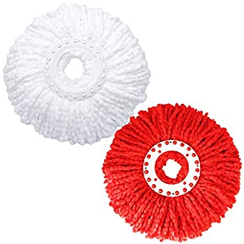 2 Pack Mop Heads Replacements Microfiber Spin Mop Replacement Head Original Thick Fluffy for 360 Spinning Mop Refills Universal Standard Round 6.3 inch Size White and Red