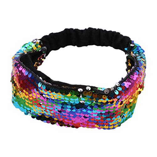 Kingus Haarband mit Pailletten, elastisch, glitzernd, elastisch, bunt, wendbar, für Mädchen und Frauen