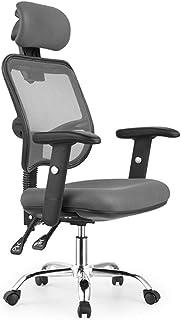 Silla de juegos Ljings, silla de escritorio ergonómica de oficina resistente y ergonómica, silla de escritorio con reposabrazos ajustable en 3D, malla transpirable, gris