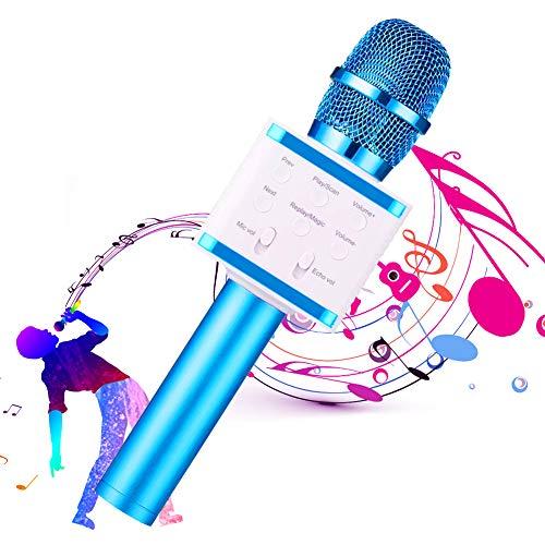 SunTop Microfono Karaoke, Bluetooth Wireless Microfono, Altoparlante, KTV Karaoke Player per Cantare, Compatibile con Android iOS o Smartphone