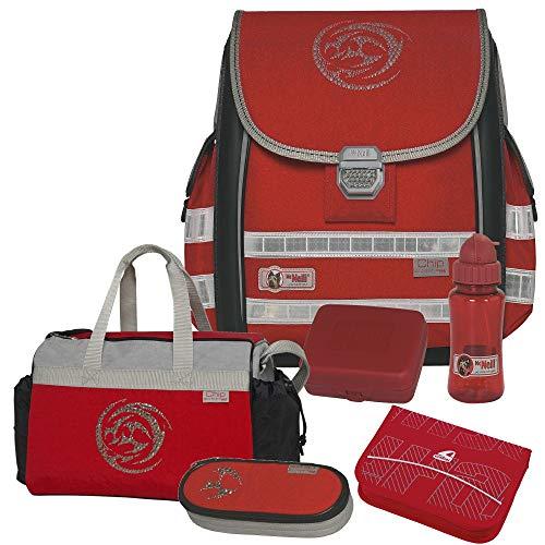 CHIP ROT - McNeill Ergo Light 3000 Schulranzen-Set 6tlg. mit Sporttasche, BROTDOSE und TRINKFLASCHE