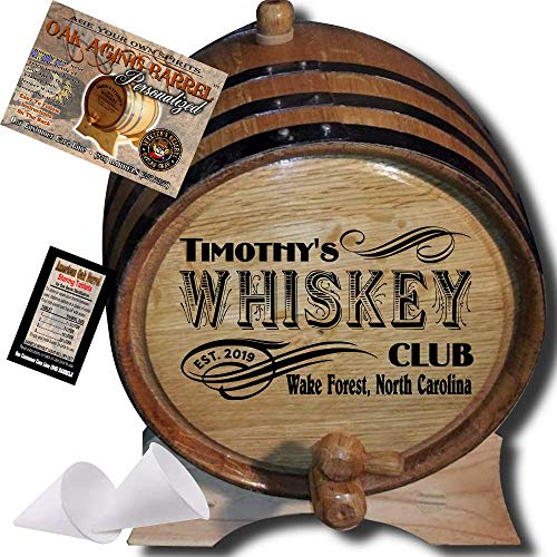 Personalized American Oak Whiskey Aging Barrel (203) - Custom Engraved Barrel From Skeeter's Reserve Outlaw Gear - MADE BY American Oak Barrel - (Natural Oak, Black Hoops, 2 Liter)