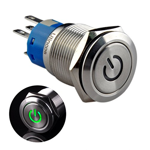 "Ulincos Latching Pushbutton Switch U19C1 1NO1NC SPDT ON/OFF Silver Stainless Steel Shell with 12V Green LED Suitable for 19mm 3/4"" Mounting Hole (Green)"