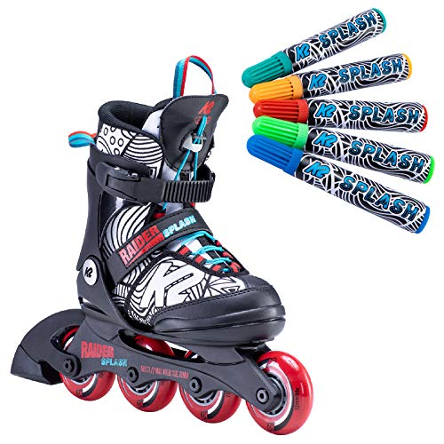 K2 Skates Jungen Raider Inline Skates, Black-red-Splash, 29-34 EU