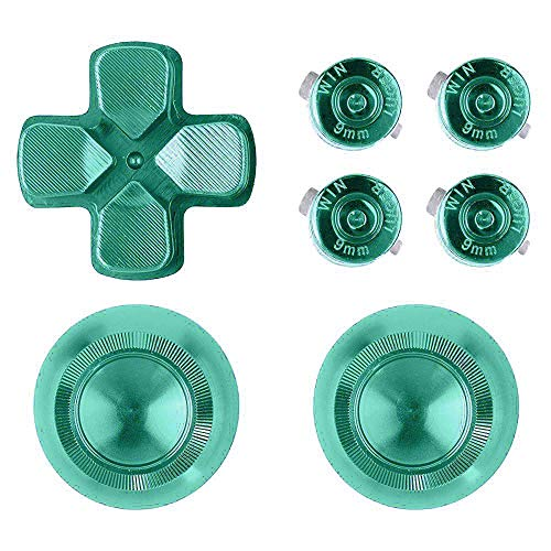 Gaoominy Metal Thumb Grips per Ps4 Controller del Alluminio Sostituzione Abxy Buttons Thumbsticks Chrome D-Pad per 4 (Verde)