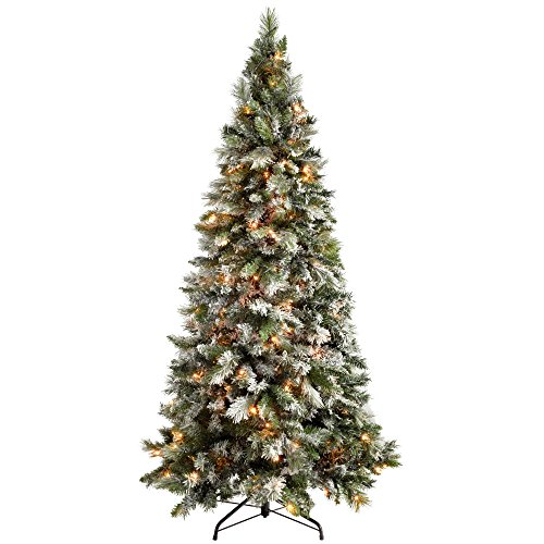 WeRChristmas Pre-Lit Slim Snow Flocked Spruce Christmas Tree with 300 Chasing Warm LED Lights, 6 feet/1.8m