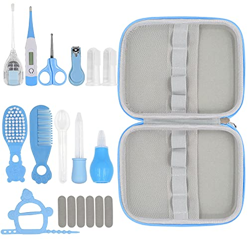 19 in 1 Baby Grooming Kit,Newborn Nursery Health Care Set Include Hair Brush Comb Finger Toothbrush,Nail Clippers,Thermometer,Nasal Aspirator,Ear Cleaner,etc. for Infant Toddlers Boys Girls Kids(Blue)
