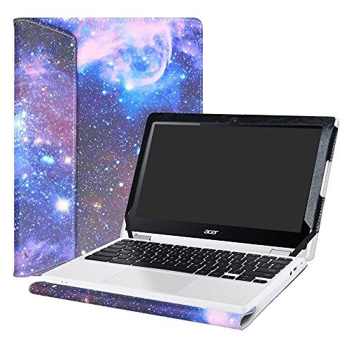 """Alapmk Diseñado Especialmente La Funda Protectora de Cuero de PU Para 11.6"""" Acer Chromebook R11 R 11 CB5-132T C738T/Chromebook 11 CB3-131 CB3-132 Series Ordenador portátil,Galaxy"""