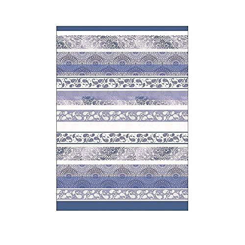 Novia - Tela decorativa para sofá, 160 x 260 cm | Gran foulard para sofá, cubresofá y multiusos (cubre sillón, colcha, cortina, picnic) | telas grandes de algodón y poliéster – Japur azul