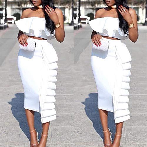 Sportswear-MZ Europäische und amerikanische Plus Size Damen Mehrschicht übereinander Rock gekräuselte Wickelbrust Jacke Set-Weiß Anzug_L