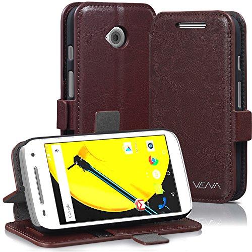 Motorola Moto E (2nd Gen, 2015) Wallet Case - VENA [vFolio] Slim Vintage Genuine Leather Wallet Stand Case with Card Slots for Motorola Moto E (2nd Gen, 2015) (Brown/Black)