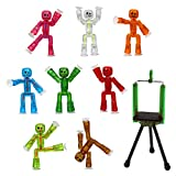 Zing Stikbot 8 Clear Pink/Orange/Clear/Blue/Light Green/Dark Green/Red/Brown and Green Tripod