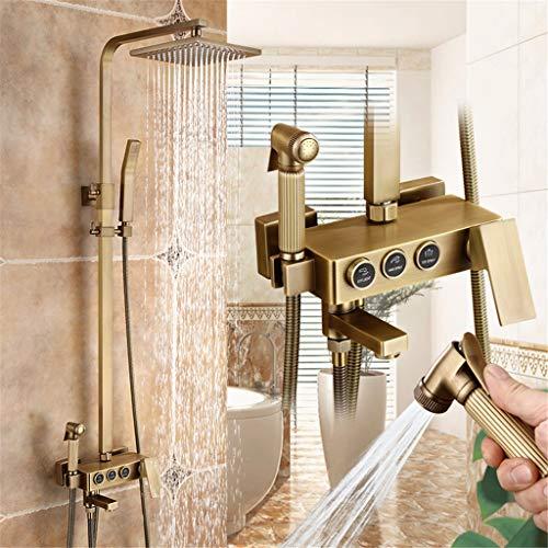 Europees-Style Antique Copper Shower System beschikt over drie/vier functies Douche Set Bad Rain douchekraan voor Exposed Shower Retro douchekraan Badkamer handdouche spuitpistool met Shelf,A