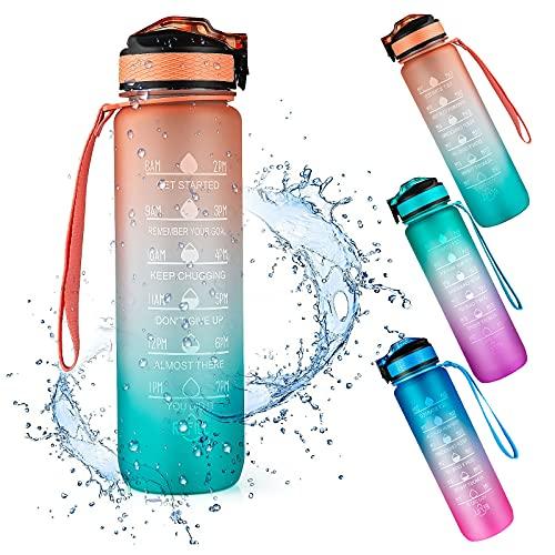 Bottiglia Acqua Motivazionale 1000ML, Weinsamkeit Bottiglia Acqua Sportiva 1Litro con Cannuccia, Senza BPA Tritan Borraccia per Bambini Scuola Sport Palestra Ciclismo Ufficio (Arancia)