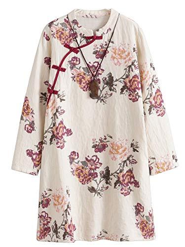 Minibee Women's Linen Dress Long Sleeve Retro Tunic Dresses Ethnic Floral Print Clothing Red M