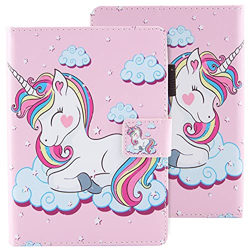 Dteck Case for Kindle Paperwhite (6 Inch, Include 10th Generation 2018  7th Generation 2015 2016  6th Generation 2013  5th Generation 2012), Leather Wallet Flip Cover with Stylus Pen, Smile Unicorn